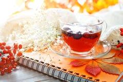 Taza de té, de serbal y de libreta en la tabla de madera Aún-vida del otoño Fotografía de archivo