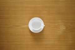 Taza de té vacía de la visión superior útil como fondo Foto de archivo libre de regalías