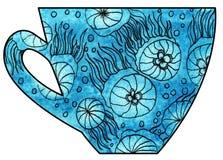 Taza de té y de café handmade Acuarela, técnicas mixtas Medusas en el mar Fotografía de archivo