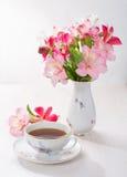 Taza de té y de flores Foto de archivo