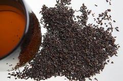 Taza de té y de hojas de té Fotos de archivo libres de regalías