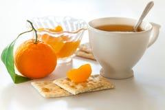 Taza de té y de mandarina Imagen de archivo libre de regalías