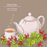 Taza de té y de teaapot salvajes de los escaramujos Fotos de archivo libres de regalías