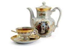 Taza de té y de tetera Imagen de archivo libre de regalías