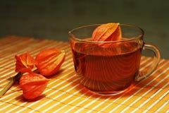 Taza de té y physalis en un paño de vector de bambú Fotografía de archivo libre de regalías