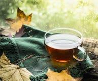 Taza de té en un travesaño de madera de la ventana de la lluvia con un paño verde y las hojas de otoño en un fondo natural Fotos de archivo libres de regalías