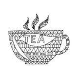 Taza de vector del té, taza de enredo del zen del té, garabato del zen Taza de colorante del té Tatuaje de la taza Imagenes de archivo