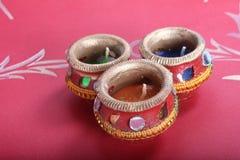 Taza decorativa india de la vela Imagenes de archivo