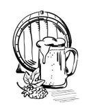 Taza del barril y de cerveza Foto de archivo libre de regalías