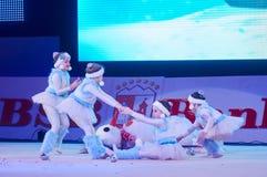'Taza del bebé - las competencias de los niños del banco de BSB' en gimnasia, el 5 de diciembre de 2015 en Minsk, Bielorrusia Imagen de archivo libre de regalías