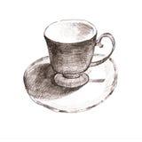 Taza del bosquejo taza y platillo elegantes Taza retra de té y de café Imagen de archivo libre de regalías