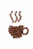 Taza del café express de los granos de café Fotos de archivo libres de regalías