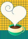 Taza del chocolate o de café con discurso de la burbuja del corazón Foto de archivo
