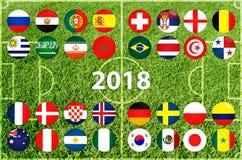 Taza del fútbol en Rusia 2018 stock de ilustración