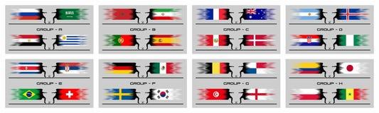Taza del fútbol etapas de 2018 grupos del campeonato internacional del mundo libre illustration