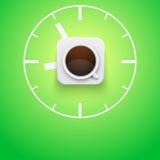 Taza del fondo de café y de tiempo Vector Imagen de archivo