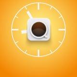 Taza del fondo de café y de tiempo Vector Imagenes de archivo