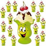 Taza del helado con muchas expresiones faciales Imagen de archivo