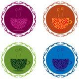 Taza del logotipo con el marco adornado caliente de la bebida y del vapor Púrpura, anaranjado, stock de ilustración