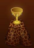 Taza del oro en la piel del leopardo Imágenes de archivo libres de regalías