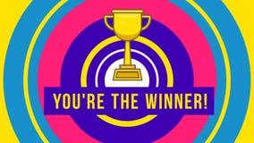 Taza del oro usted es el ganador almacen de video