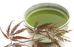Taza del tazón de fuente del té verde de Matcha Fotografía de archivo
