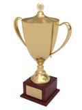 Taza del trofeo del oro en el zócalo de madera Imagen de archivo libre de regalías