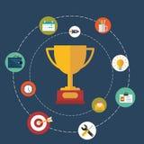 Taza del trofeo plana con los diversos iconos del negocio y del web en un círculo Fotos de archivo libres de regalías