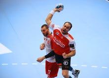 TAZA DINAMO BUCAREST - BM DEL EHF DE LOS HOMBRES DE FRAIKIN GRANOLLERS Fotografía de archivo