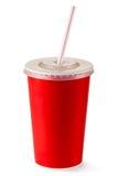 Taza disponible roja para las bebidas con la paja Imagen de archivo