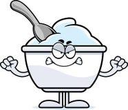 Taza enojada del yogur de la historieta Foto de archivo
