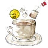 Taza estilizada de la acuarela de té Fotografía de archivo libre de regalías