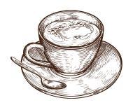 Taza exhausta de la taza de la mano del café de la bebida, del té calientes etc libre illustration