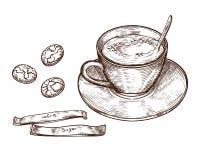 Taza exhausta de la taza de la mano del café de la bebida, del té calientes etc Taza aislada en el fondo blanco Taza de té, taza  libre illustration
