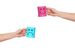 Taza feliz, taza triste Imagen de archivo libre de regalías