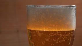 Taza fría de cerveza en una cámara lenta de la cámara lenta de la barra almacen de metraje de vídeo