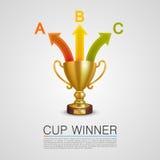 Taza gráfica del ganador de la información stock de ilustración
