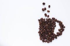 Taza hecha de habas del coffe Imagen de archivo libre de regalías