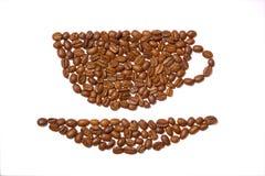Taza hecha fuera de los granos de café imágenes de archivo libres de regalías