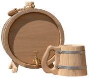 Taza hecha a mano elegante aislada del barril y de cerveza Fotografía de archivo