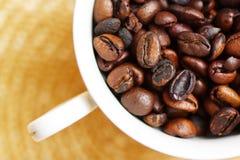 Taza llenada de los granos de café recientemente asados imagenes de archivo