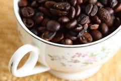Taza llenada de los granos de café recientemente asados imagen de archivo
