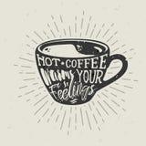 Taza a mano de la silueta de café con las letras Fotos de archivo libres de regalías