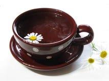 Taza marrón del té de manzanilla Foto de archivo