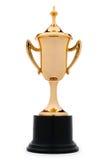 Taza metálica elegante del trofeo del oro Imagenes de archivo