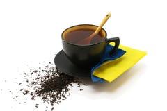 Taza negra de té Imagen de archivo libre de regalías