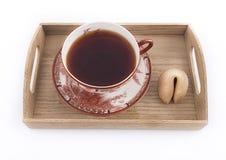 Taza oriental de té con la galleta de la suerte Fotos de archivo