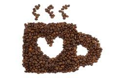Taza para el amante del café en el fondo y la sombra blancos Fotografía de archivo