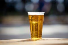 Taza plástica de cerveza ligera que se coloca en la tabla foto de archivo libre de regalías