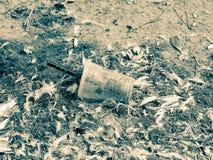 Taza plástica desechada con la paja que deja en desorden la arena de la playa entre las plumas de pájaro, Países Bajos imagen de archivo libre de regalías
